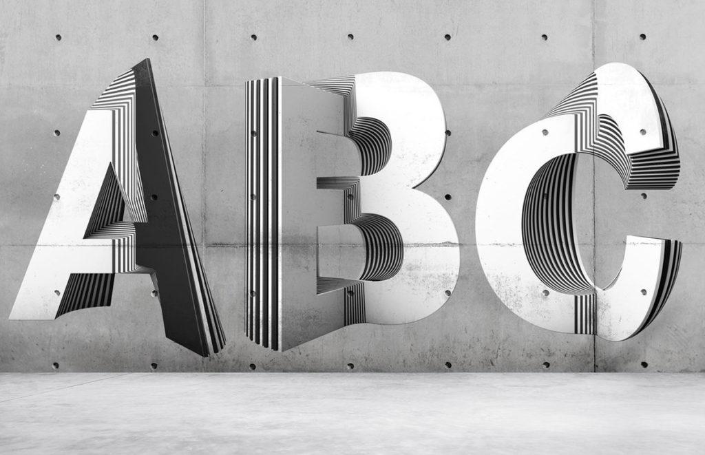 Typographie 3D : Txaber en met plusieurs couches